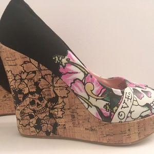 2282c2a31d8 Ed Hardy Shoes - ED HARDY Casablanca Peep Toe Wedges Sz 9